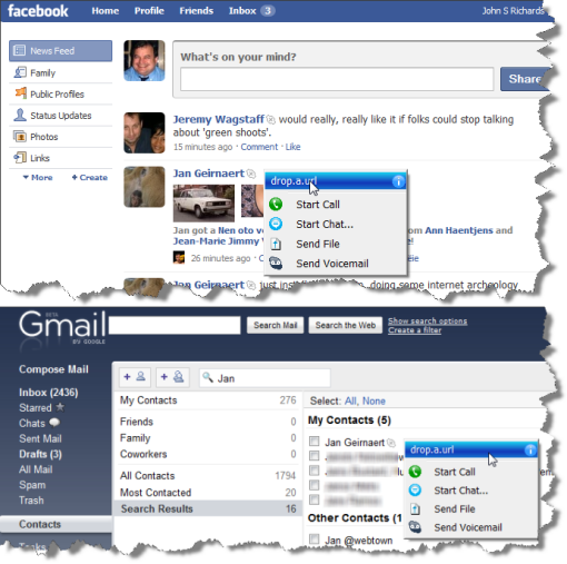 Facebook & Gmail Skype Presence Examples